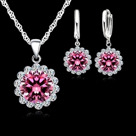 £5.85 GBP - Silver Plated Pink And White Cubic Zirconia Necklace And Earrings Set #ebay #Fashion