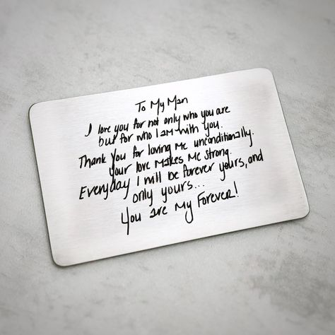 Personal Handwriting Love Note Wallet Card for Husband  #christmas #stockingstuffer #giftsforhim #husband #boyfriend #lovenotes #handwriting