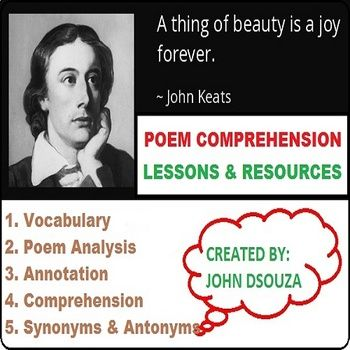 A Thing Of Beauty By John Keats Unit Plans And Resources Poem