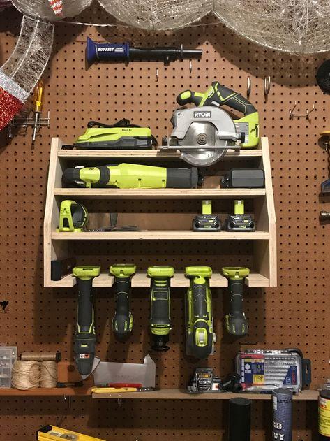 Tool Wall Storage, Easy Garage Storage, Power Tool Storage, Garden Tool Storage, Power Tools, Storage Racks, Storage Ideas, Lumber Storage, Tool Storage Cabinets