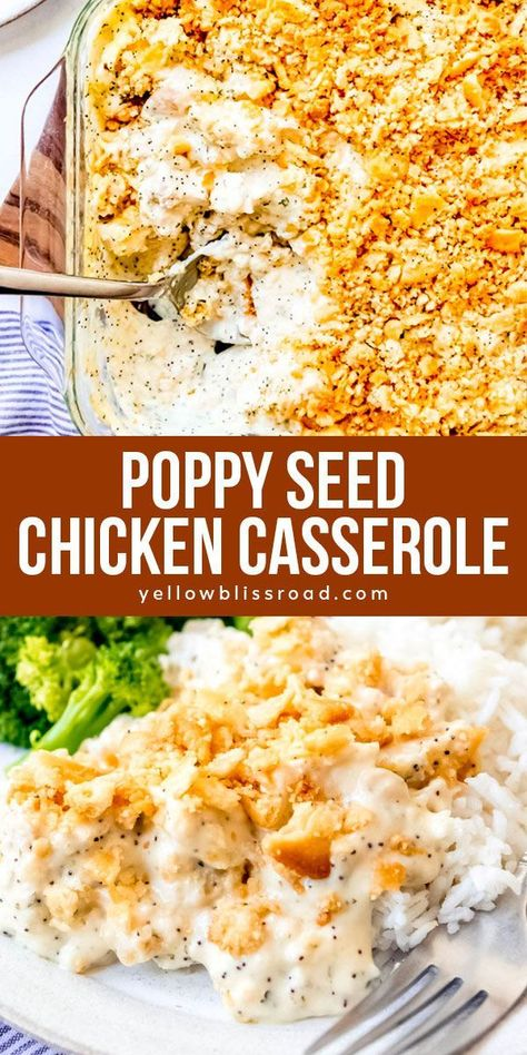 This easy, delicious Poppy Seed Chicken is a comfort food classic with tender chunks of chicken in a creamy sauce topped with a crunchy, buttery topping of Ritz crackers! Its a family favorite that is always devoured by kids and grown-ups alike! Poppy Seed Chicken Casserole, Ritz Cracker Chicken Casserole, Chicken Bake Casserole, Poppyseed Chicken Recipe, Hamburger Casserole, Easy Casserole Recipes, Lemon Chicken, Galletas Ritz, Recipes