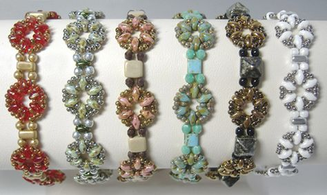 Little Ditties, a new free pattern from AroundTheBeadingTable.com. Use size 11 seed beads, SuperDuo beads, any size 3mm beads (round beads, glass pearls, fire-polished beads or size 8 seed beads) and any two-hole beads that have a width of 5-8mm (Czechmates tile or brick beads, 8mm Czech Beadstuds, Rulla beads, Tila beads or another SuperDuo bead) to create as many different bracelets as you want.