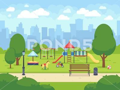 Urban Summer Public Garden With Kids Playground Cartoon Vector City Park With Clip Art 87989943 Public Garden Gardening For Kids Summer Landscape
