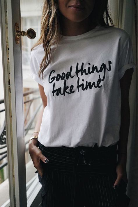good things take time inspirational graphic tee || white women's t-shirt || casual outfit inspiration || every day style