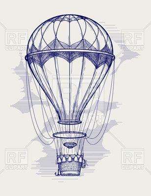 Hot air balloon ball pen sketch illustration, 138434, download royalty-free vector clipart (EPS) #dirigible #airship #zeppelin #rfclipart #vector