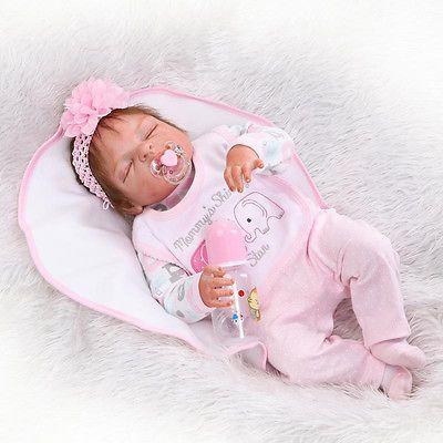 """23/"""" Full Body Silicone Reborn Baby Sleeping Doll Soft Vinyl Lifelike Newborn Boy"""