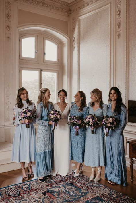 Isla and Alexandre celebrated their wedding with a dreamy Parisian countryside wedding at Château de Meridon! We're swooning over the beautiful Isla and Alexandre celebrated their most… Blue Bridesmaids, Short Bridesmaid Dresses, Wedding Bridesmaids, Wedding Attire, Wedding Dresses, Bridesmaid Boxes, Beautiful Bridesmaid Dresses, French Wedding, Blue Wedding