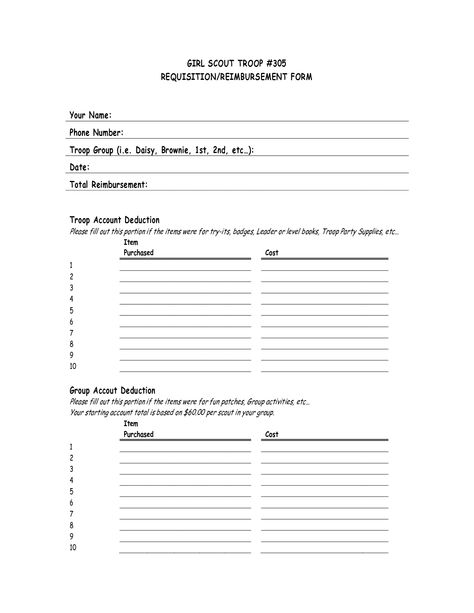 girl scout reimbursement form Girl Scout leader Pinterest - requisition form