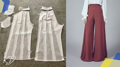 Wide leg palazzo pants pattern tutorial slash and spread method Sewing Pants, Sewing Clothes, Diy Clothes, Sewing Coat, Barbie Clothes, Fashion Sewing, Diy Fashion, Ideias Fashion, Wide Leg Palazzo Pants