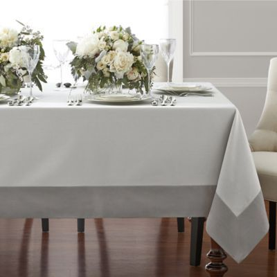 Wamsutta Bordered Linen 70 X 104 Oblong Tablecloth In Grey Tablecloth Dining Table Cloth Linen Tablecloth