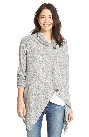 Bobeau One-Button Fuzzy Fleece Wrap Cardigan (Regular & Petite) grey pink or creme size M/L