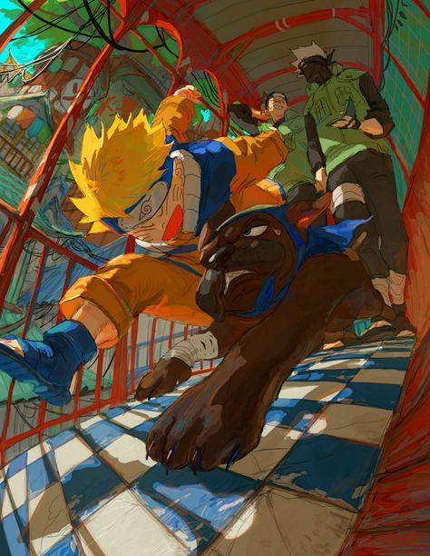 Naruto, Hiruka, Kakashi & The Ninja Dog Anime Naruto, Naruto Fan Art, Kakashi Sensei, Naruto Cute, Naruto Shippuden Anime, Madara Uchiha, Naruto And Sasuke, Manga Anime, Wallpaper Naruto Shippuden