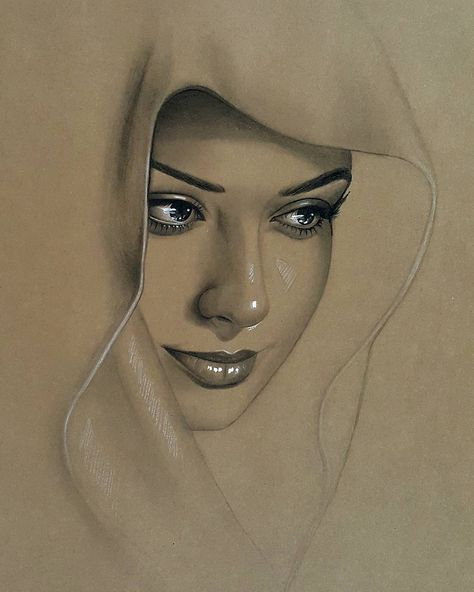Husam Waleed charcoal and white chalk pastel on toned sheet paper