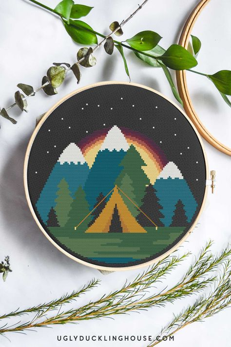 "Every month, I'm sharing new cross stitch patterns! For this month's feature, I created a ""camping under the stars"" design — something that would look great when used with a dark fabric. I don't know if it's summer, pregnancy, quarantine, or all of the above, but lately, the days blur together so much! I'll be ... Read More about  Starlight Camping 