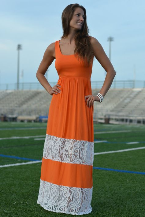 MAKE MY DAY Orange White Lace Maxi Dress Game Day FL TN Shop Simply Me Boutique – Simply Me Boutique