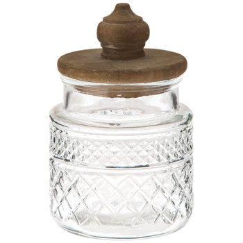 Ornate Glass Jar With Wood Lid Small Glass Jars Decorative Pillows Glass