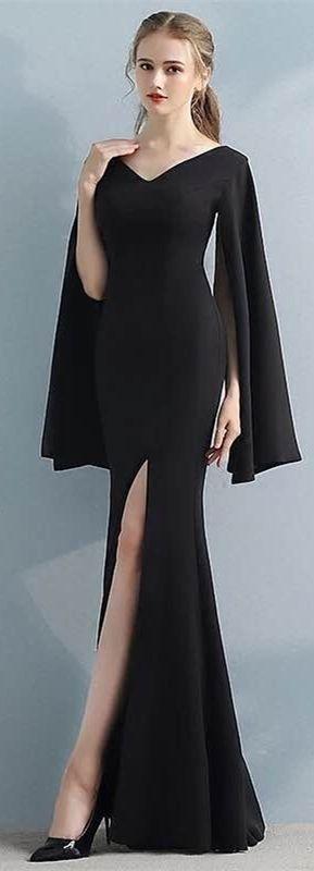Robe Soiree Noire Longue Fendue Avec Manches Longues Fendues Robe Soiree Longue Robe Robe Soiree Noire