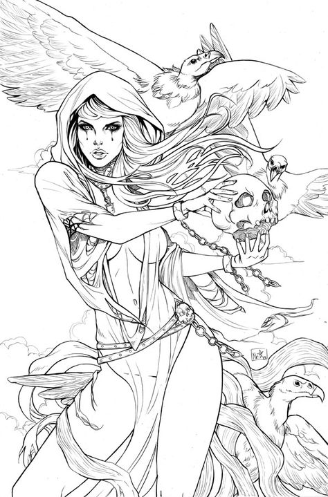 Grimm fairy tales is one adult coloring pages that I put together for relaxation and fun.Click this pin for more. Adult Coloring Book Pages, Colouring Pages, Coloring Books, Tattoo Coloring Book, Fairy Coloring, Colorful Drawings, Colorful Pictures, Arte Dc Comics, Grimm Fairy Tales