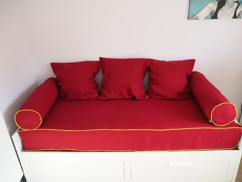 Ikea Day Bed Set Storage Unit In Burgundy Colour Twin Bed Set