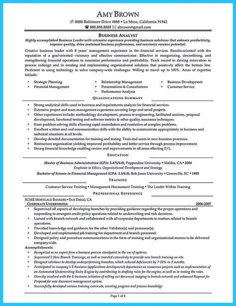 banking business analyst resumes