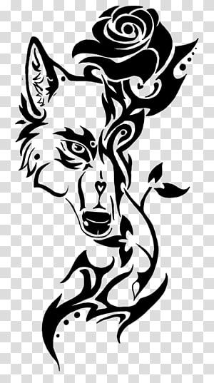 Wolf Head And Rose Illustration Sleeve Tattoo Drawing Wolf Tatto Transparent Background Png Half Sleeve Tribal Tattoos Rose Illustration Tattoo Art Drawings