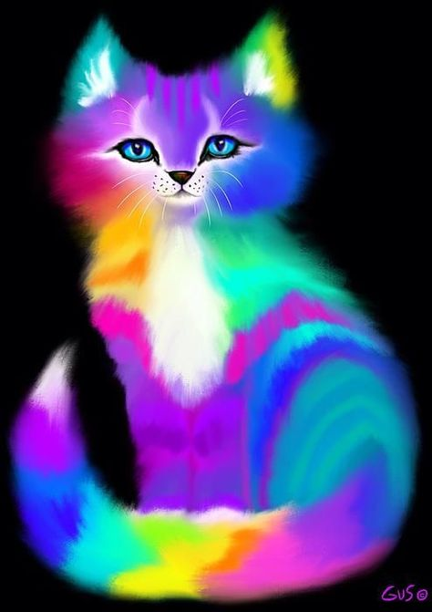 A colorfully striped rainbow cat #CatArt