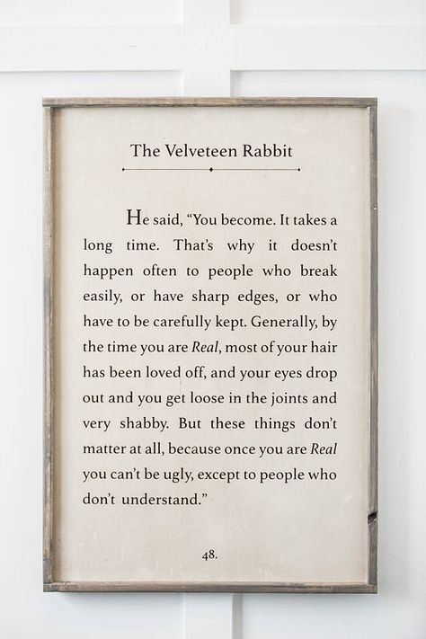 The Velveteen Rabbit Kids Decor Kids Room Sign