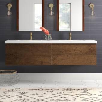 Tenafly 72 Wall Mount Double Bathroom Vanity Set Reviews Allmodern Double Vanity Bathroom Modern Bathroom Vanity Contemporary Bathroom Vanity