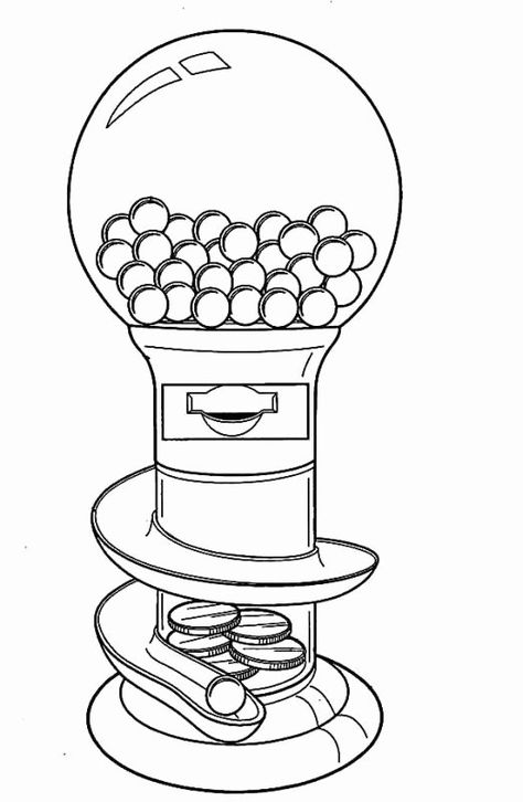 Gumball Machine Colouring Pages Gumball Machine 100 Day Of
