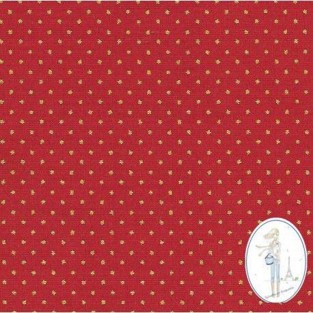 tissu noel rouge pois or 2 75