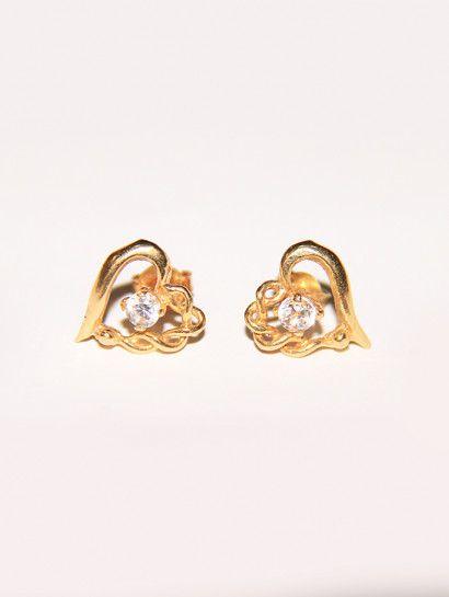حلق ذهب عيار 18 حلق ذهب عيار 18 على شكل قلب وبه فص ابيض Flawer Jewelry Jewelrymaking Love Women Ring Stud Earrings Gold Gold Rings