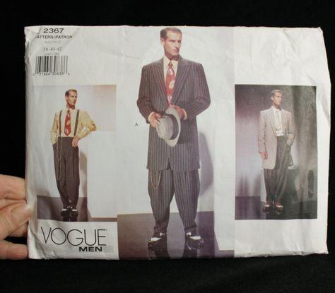 MENS ZOOT SUIT -Costume Sewing Pattern- Long Coat- Wide Lapels -High ...