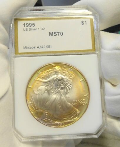 Bullion 1995 Us 1 Silver Eagle Uncirculated Coin Golden Rainbow Toning In Pci Holder Coin Collectible Silver Eagles Bullion Uncirculated Coins