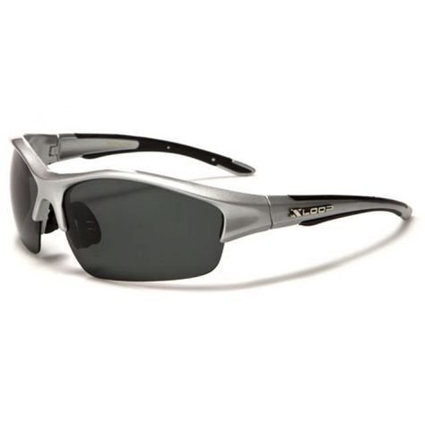 bd6cb99a2e X-Loop Mens Semi-Rimless Sports Sunglasses Silver with Black Polarized Lens