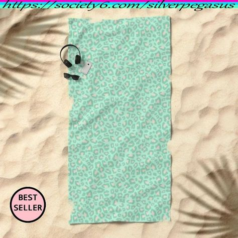 Shop for Leopard Print 2.0 - Neo Mint Beach Towel by © SilverPegasus / Trendy colorful animal print in pastel colors, mint green, sage green and blush peach / beach accessories, travel accessories, vacation accessories, beach life, colorful leopard print, pastel leopard print, leopard print beach towel, pastel beach towel, trendy / Buy beach towels / Shop for gift ideas / #beachtowel #beachaccessories #travelaccessories #vacation #beachlife #leopardprint #animalprint #trendy #giftidea #society6
