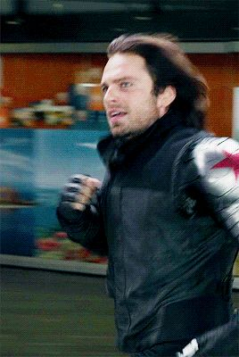 Bucky Barnes Running and his hair is perfect in all these gifts like he can control that mane😂❤ And the then here is the Winter Solider… BITCH I DON'T RUN,I STRUT Marvel Dc, Marvel Actors, Marvel Memes, Marvel Characters, Bucky Barnes, Sebastian Stan, Winter Soldier Bucky, Deadpool, Bucky And Steve