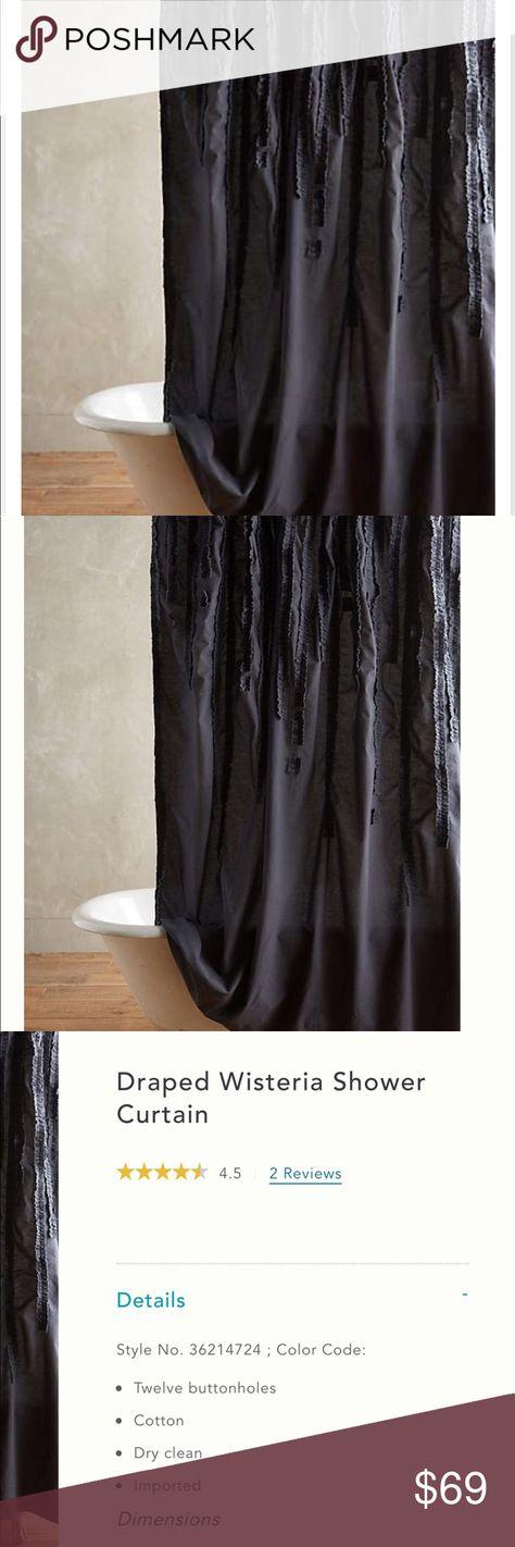Douchegordijnen Anthropologie Draped Wisteria Shower Curtain White Cotton Vertical Ruffles 72 Huis