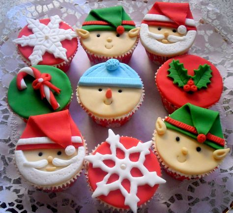 Christmas Cupcake Fondant Topper Edible, Santa - Elf - Snowman - Holly Μistletoe- Candy Cane - Snowflake, Christmas Party Decoration, 6 pcs by SweetCakeByAnastasia on Etsy https://www.etsy.com/listing/251816216/christmas-cupcake-fondant-topper-edible