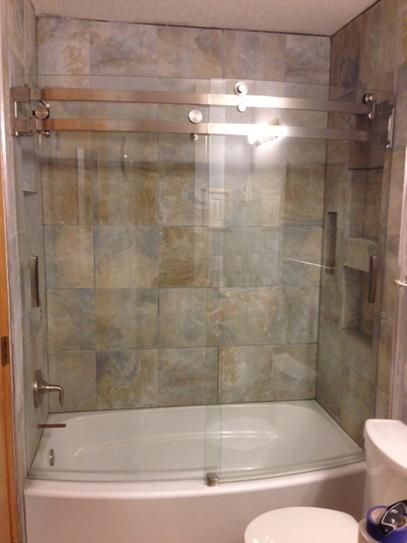 Delta Classic 400 Curve 60 in. x 62 in. Frameless Sliding Tub Door in Stainless B55910-6030-SS at The Home Depot - Mobile