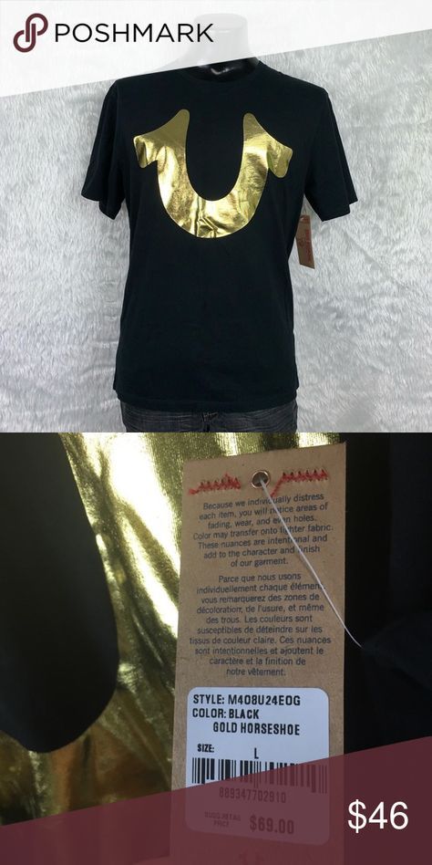 🆕 True Religion Black/Gold Horsehoe Tee (NWT) Brand new with tags! True Religion 100% soft luxurious cotton Distressed Black Gold Horseshoe Tee in size Large. This beautiful shirt should be yours! Let's make it happen! True Religion Shirts Tees - Short Sleeve