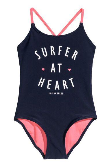 Kostium Kapielowy Z Nadrukiem Ciemnoniebieski Dziecko H M Pl Print Swimsuit Online Shopping Clothes Swimsuits