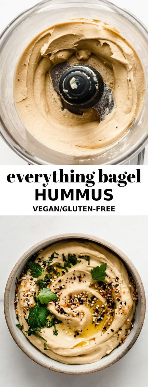 This Everything Bagel Hummus is super creamy and easy to make. Flavoured with roasted garlic, sesame and onion powder, this hummus pairs perfectly with your favorite snacks! #vegan #glutenfree #everythingbagel #hummusrecipe