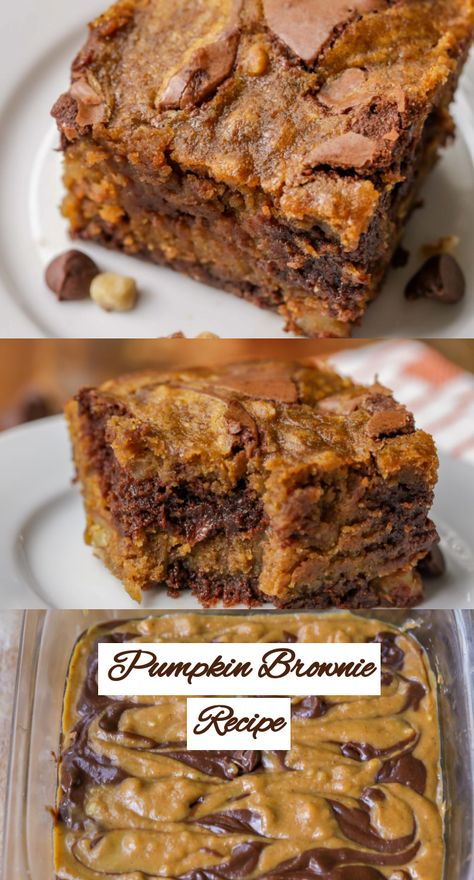 The Yummiest Pumpkin Brownies You Will Ever Taste! Pumpkin, Chocolate, And Spices Unite To Make One Pan Of Deliciousness That Will Sure To Satisfy Anyone's Pumpkin Addiction. desserts, Pumpkin Brownies - The Perfect Fall Treat! Köstliche Desserts, Delicious Desserts, Holiday Desserts, Yummy Food, Chocolate Desserts, Christmas Recipes, Tasty, Fall Baking, Holiday Baking