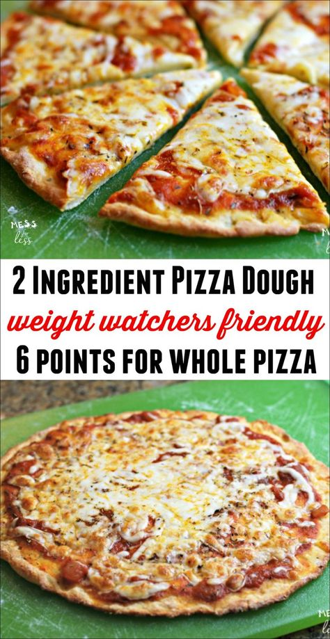 This Weight Watchers friendly Two Ingredient Pizza Dough allows you to make a pizza for 6 Freestyle Points! It tastes amazing and you won't feel deprived at all! Recipes pizza Two Ingredient Pizza Dough Weight Watchers Snacks, Weight Watchers Meal Plans, Weight Watcher Dinners, Weight Watchers Lasagna, Weight Watchers Chicken, Weight Watcher Points, Weight Watchers Meatloaf, Weight Watchers Cheesecake, Wieght Watchers
