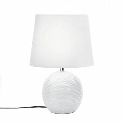 Ad Ebay Url Table Lamp Room Nightstand Bedside Modern Round Ceramic Base Fabric Shade White