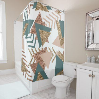 Retro 90s Abstract 70s Avocado Green Rose Gold Shower Curtain