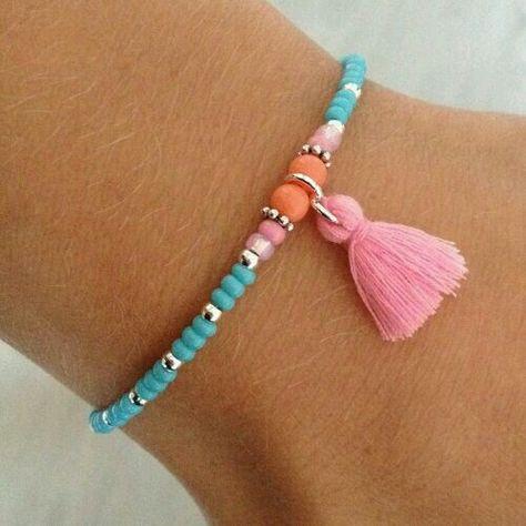Bracelet Perles de Rocaille Ressort T.Unique Inde Orange
