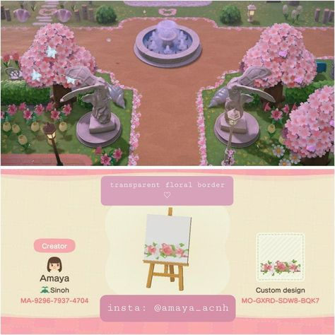 A transparent floral border to add to paths 🌷 - ACQR Animals Crossing, Animal Crossing Guide, Animal Crossing Villagers, Animal Crossing Qr Codes Clothes, Animal Crossing Pocket Camp, Motif Floral, Floral Border, Pink Island, Island Map
