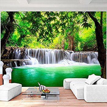 Fototapete Wasserfall im Wald  Vliestapete Tapete