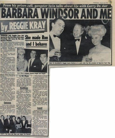 Barbara Windsor and Me. The People. August 26th 1990.